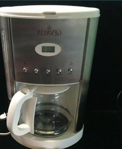 GEVALIA 12 Cup COFFEE MAKER White Stainless Steel Silver Mod