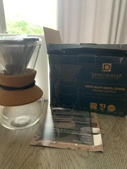 Apace Living Pour Over Coffee Maker w Glass Carafe, Stainles