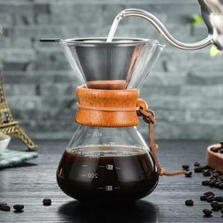 Classic Glass Hand Drip Coffee Maker Pot Pour Over 400ml W/