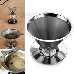 Coffee Filter Stainless Steel Pour Over Cone Dripper Coffee