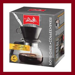 Melitta Coffee Maker, 6 Cup Pour-Over Brewer with Glass Cara