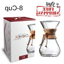 Chemex Coffee Maker 8-Cup Glass Wooden Collar Heat Resistant