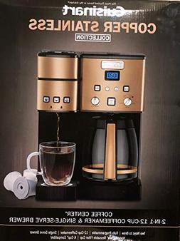 Copper Stainless 2-IN-1, 12-Cup CoffeeMaker & Single-Serve B