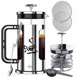 French Press Coffee Maker, 34oz Coffee and Tea Makers with 4