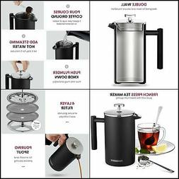 French Press Coffee Maker 34Oz18/8 Stainless Steel Double Wa