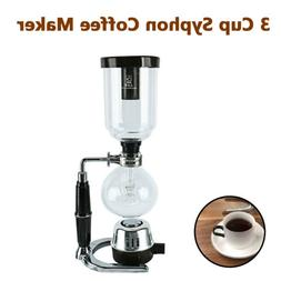 Homend Glass 3-Cup Coffee Syphon Tabletop Siphon Coffee Make