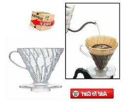 Japan HARIO Clear Glass Pour-Over Plastic Coffee Dripper Cra
