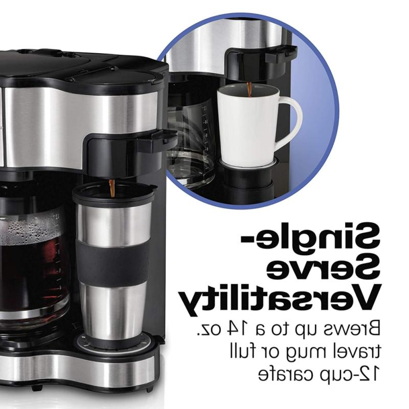2-Way Brewer Coffee Maker, Single-Serve 12-Cup Stainless Steel