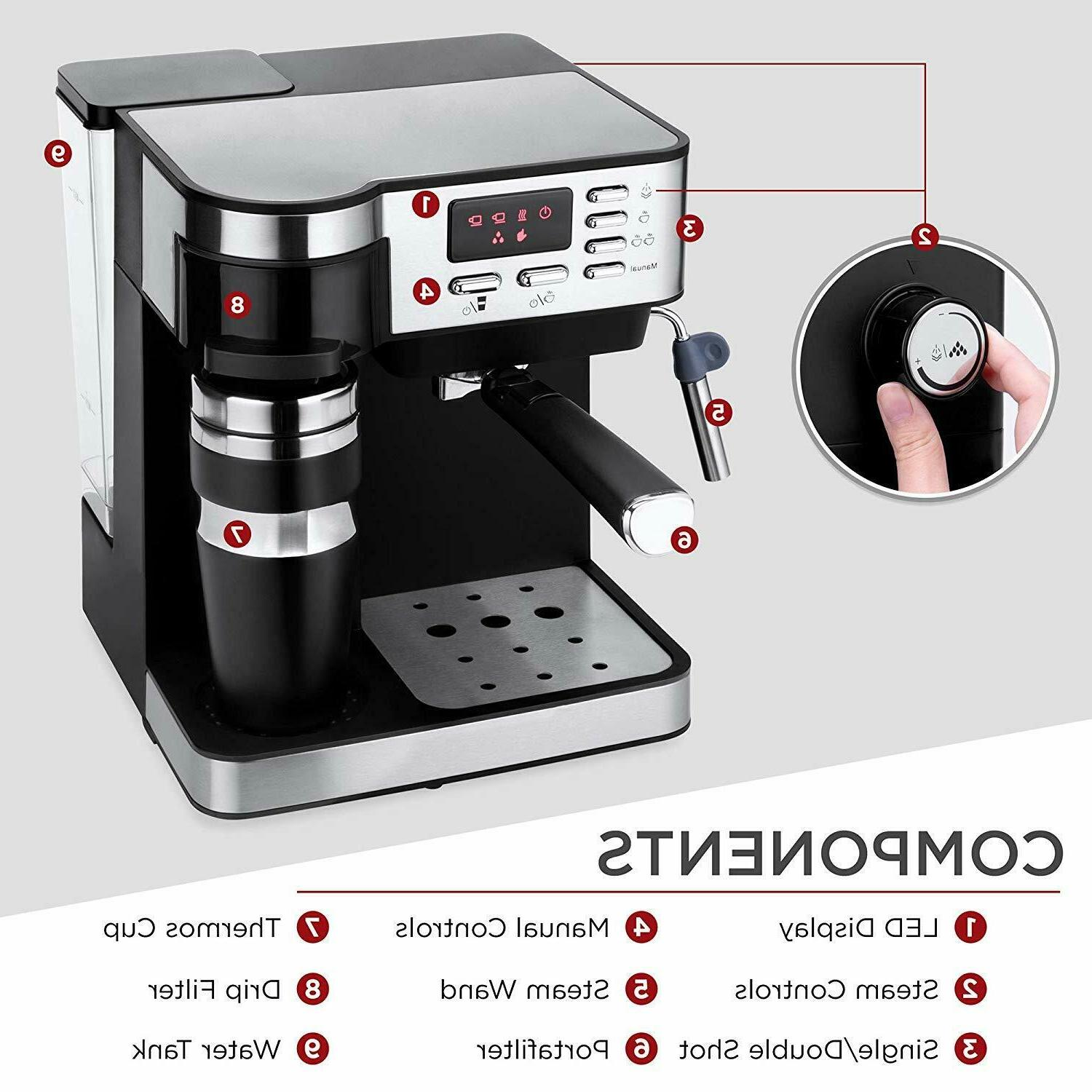 3-in-1 15-Bar Coffee, and Cappuccino Maker