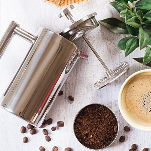 MIRA Stainless Steel Press Double Walled & Tea Pot & Maker Keeps Brewed Coffee Hot | with 3