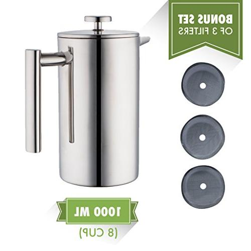 MIRA Press Double Walled & Pot & Maker Brewed Coffee or Hot 34 with 3 Extra Filters
