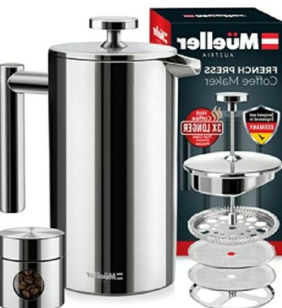 french press double insulated stainless steel coffee