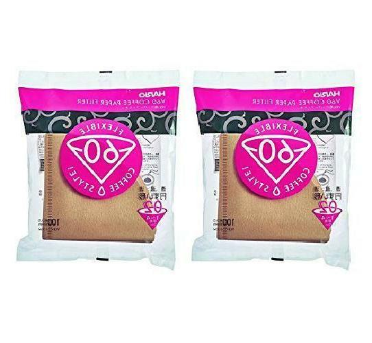 Hario V60 Disposable Paper Coffee Filters, Tabbed, Natural,
