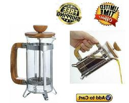 Olive Wood Coffee and Tea Press Coffee Maker Brewer Home Caf
