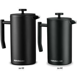 French Press Coffee Maker, Double Wall Stainless Steel with